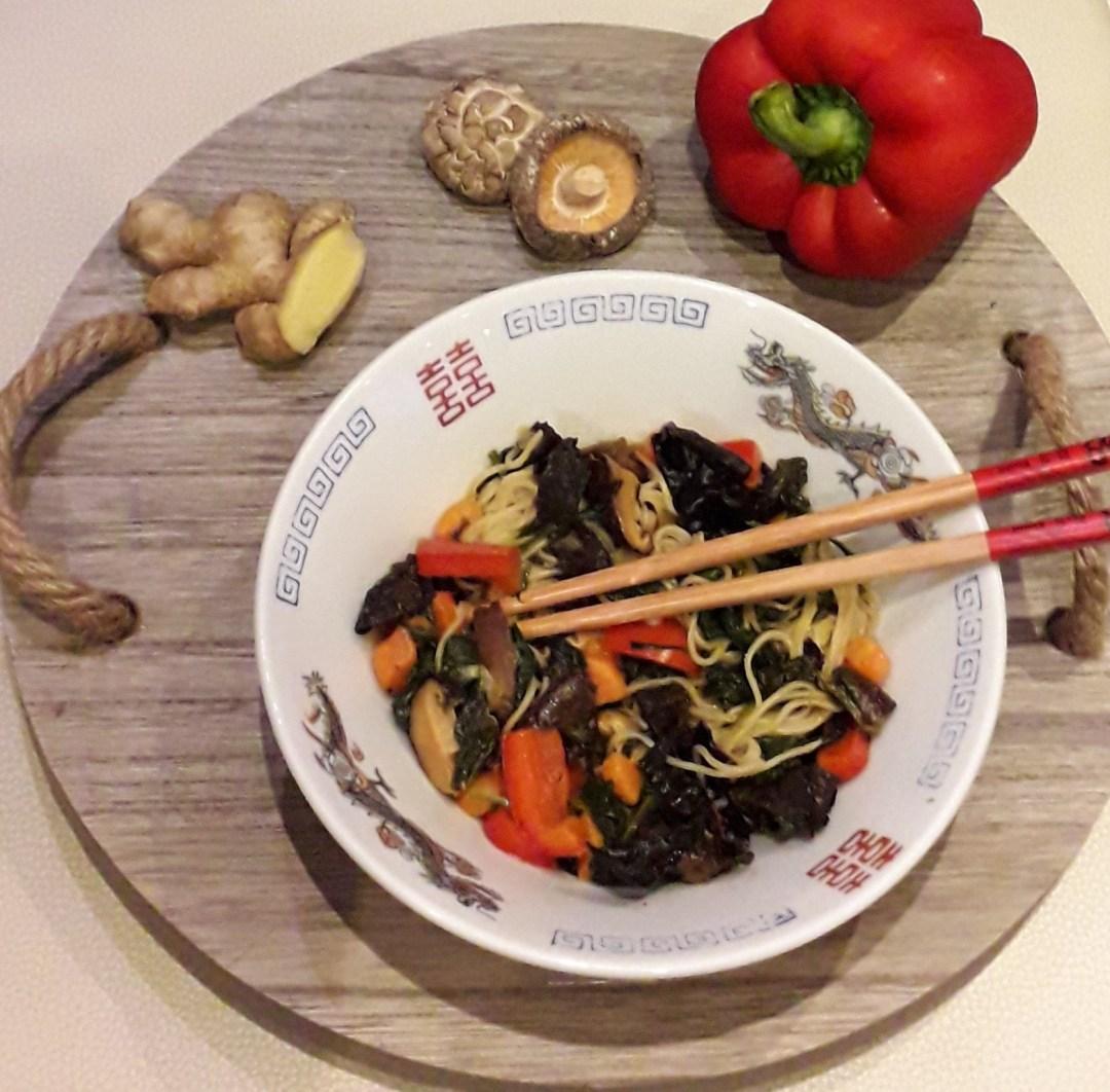 Noedels met spinazie en shiitake - vegetarisch recept