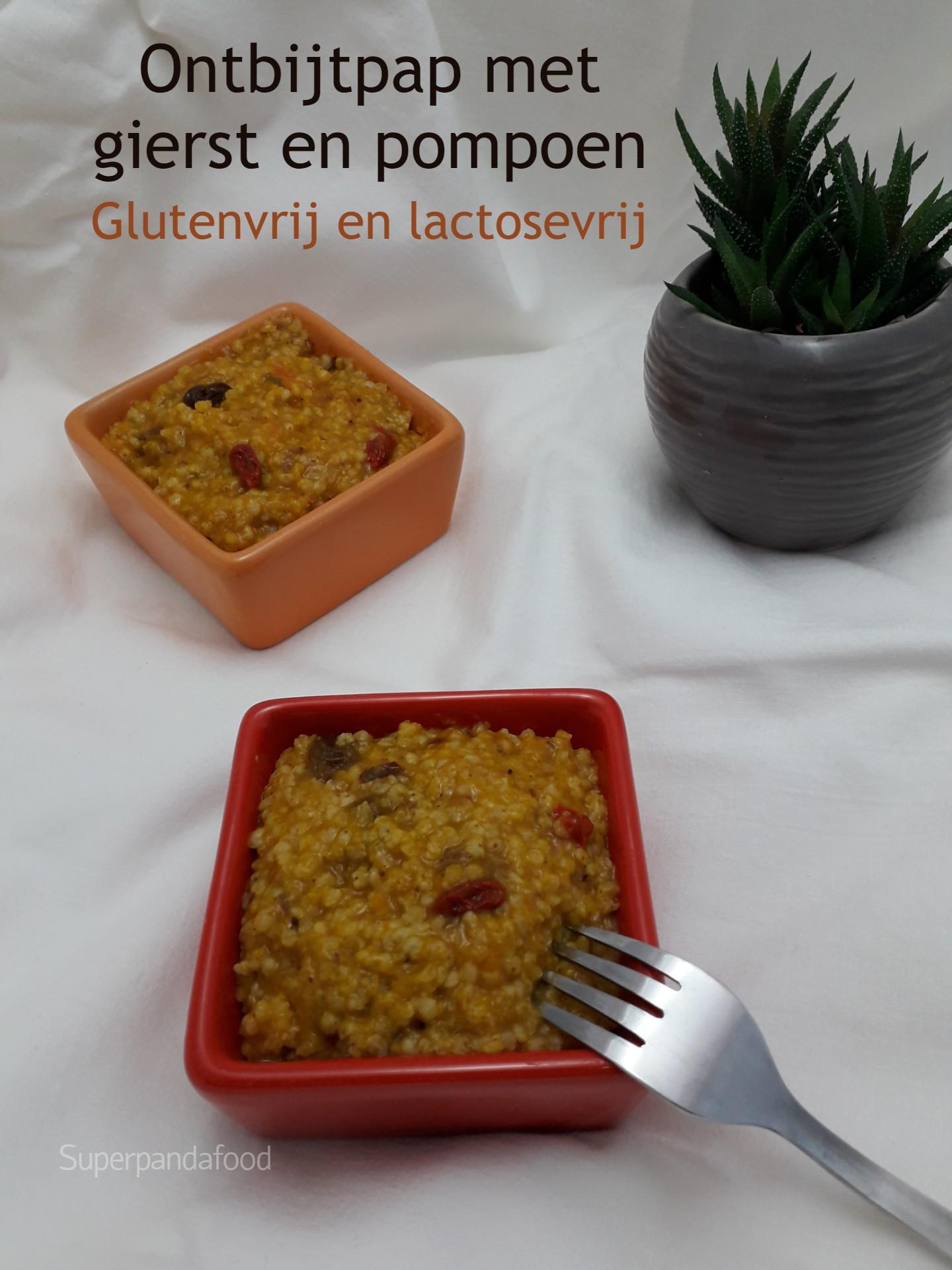Ontbijtpap met gierst, pompoen en gojibessen - glutenvrij en lactosevrij recept - Superpandafood