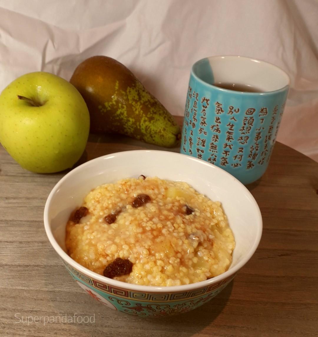 Gierstpap met appel en peer: verwarmend ontbijt om je immuunsysteem te ondersteunen - Glutenvrij en lactosevrij
