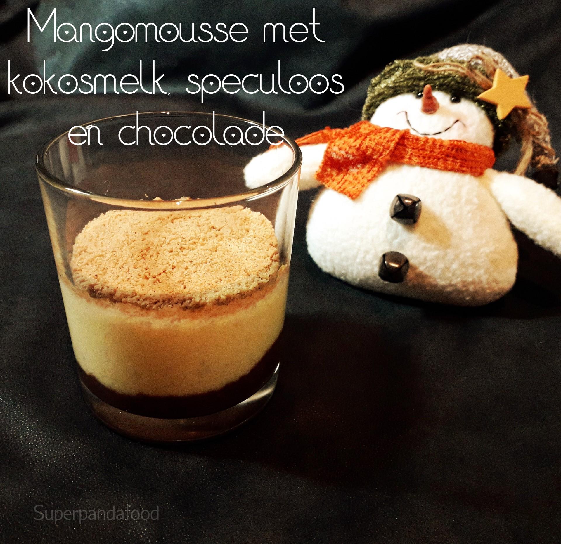 Mangomousse met kokosmelk, speculoos en chocolade - Glutenvrij, lactosevrij en vegan recept